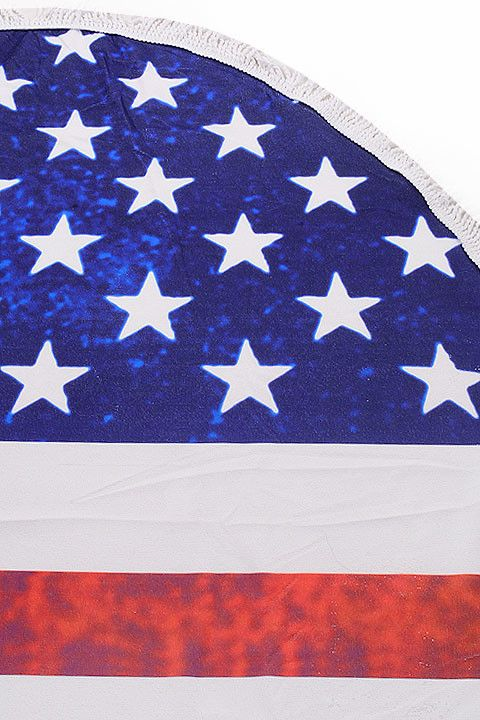 West Of Camden American Flag Round Beach Towel