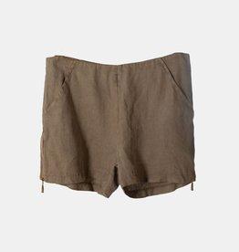 CLAUDIO MILANO Dark Khaki Linen Shorts