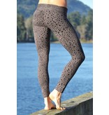 MahaDevi Indira Tights w/Leopard Print (Charcoal) XL