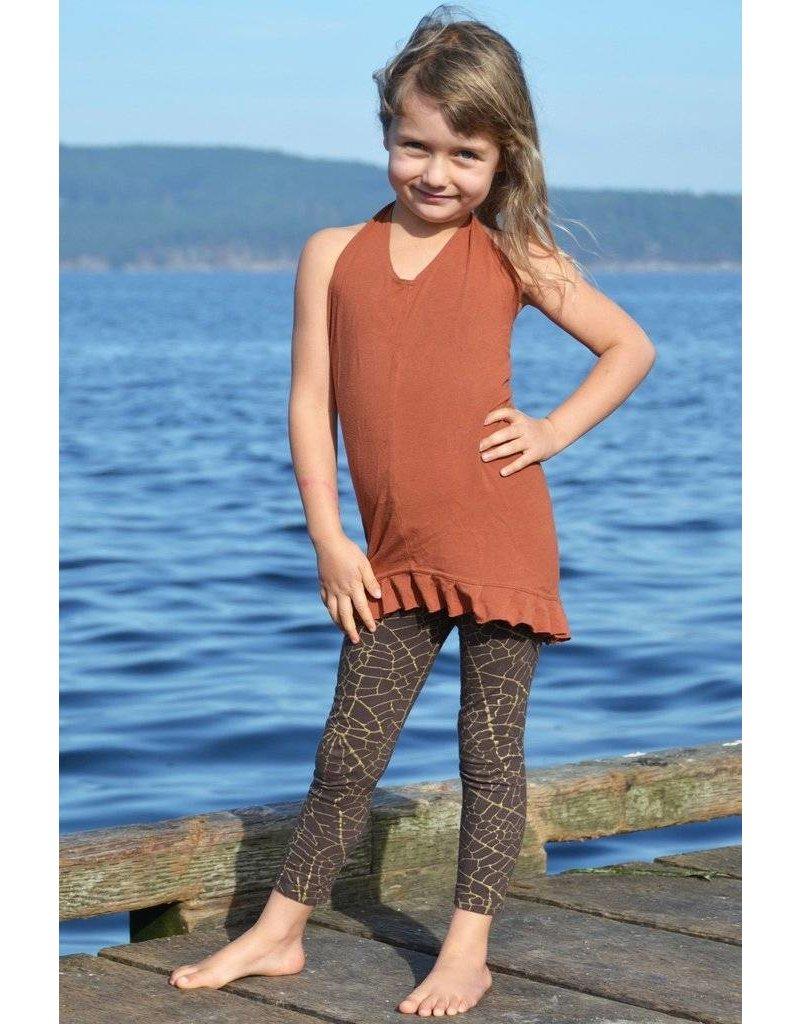MahaDevi Kids-Mini Indira Tights w/Gold Leaf (Darkest Brown) S
