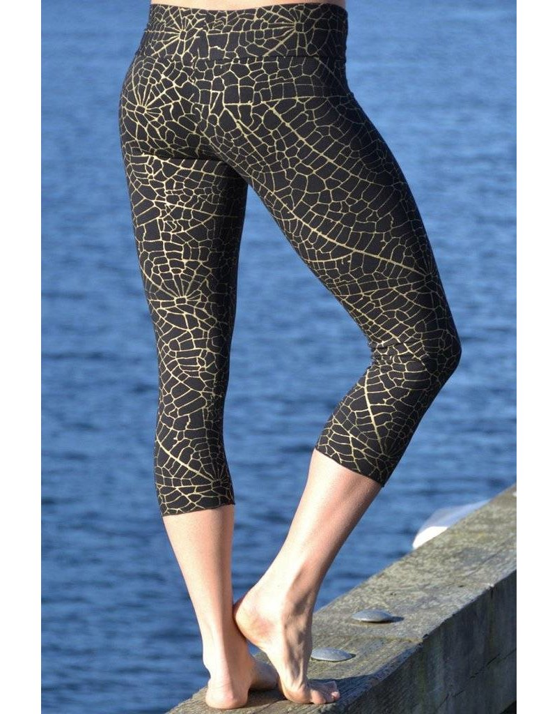 MahaDevi Malaya Yoga Tights w/Gold Leaf (Long) (Brown) XL