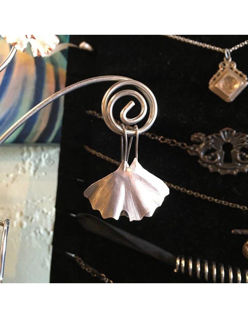 Black Moon Metals Small Silver Ginkgo Earrings