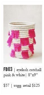 Indego Africa Pink & White Eyelash Fringe Basket