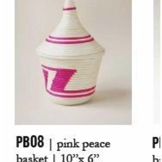 Indego Africa Pink & White Peace Basket