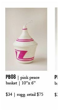 Indego Africa Pink & White Peace Basket