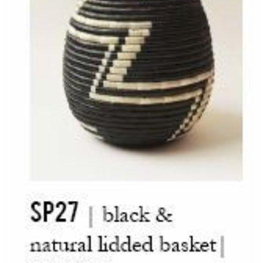Indego Africa Lidded Basket Black