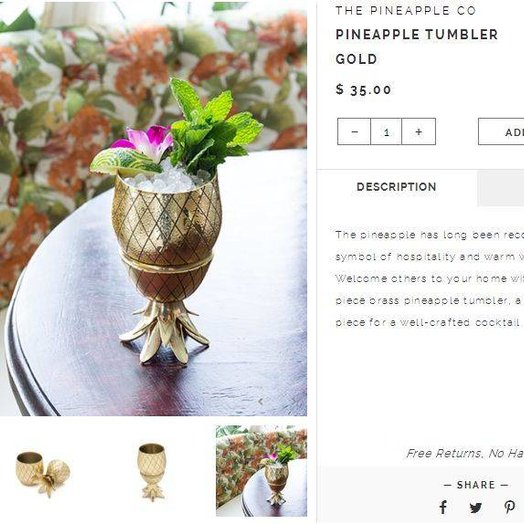W&P Design 12 oz Gold Pineapple Tumbler