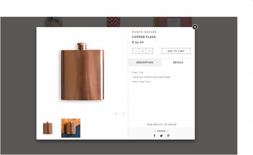 W&P Design 7 oz Copper Flask