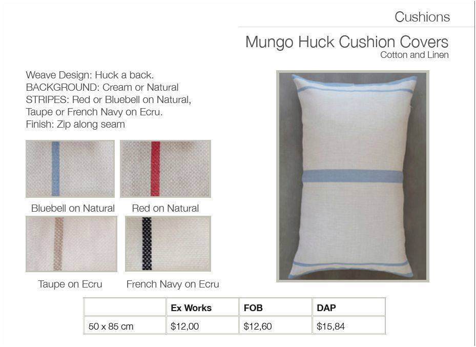 Mungo Cushion Cover C&L Mungohuck 20 x 34 inches Cream and French Navy