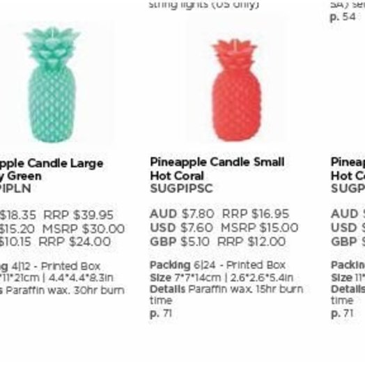 Sunnylife Pineapple Candle Large Coral