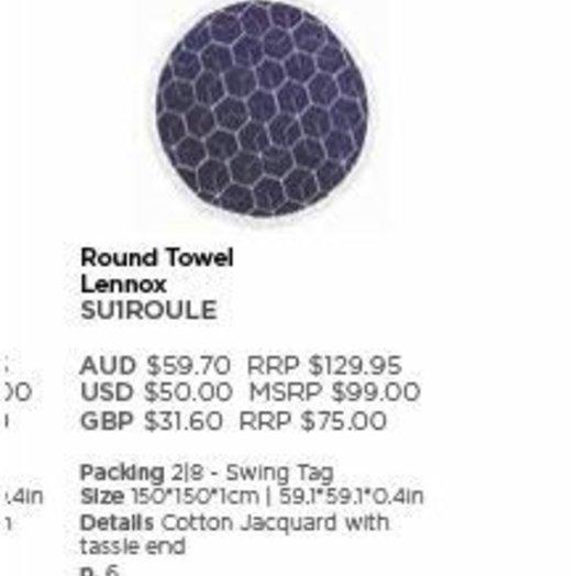 Sunnylife Round Towel Lennox