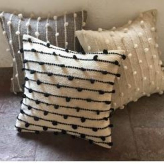 Mexchic Puff Collection Pillow Cream on Grey 19 x 19 inches
