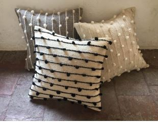 Mexchic Puff Collection Pillow Black on Cream 19 x 19 inches