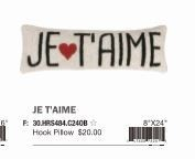 Peking Handicraft Je T'aime Hook Pillow 8 x 24 ""