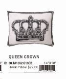 """Peking Handicraft Queen Crown Hook Pillow 14 x 18 """""""