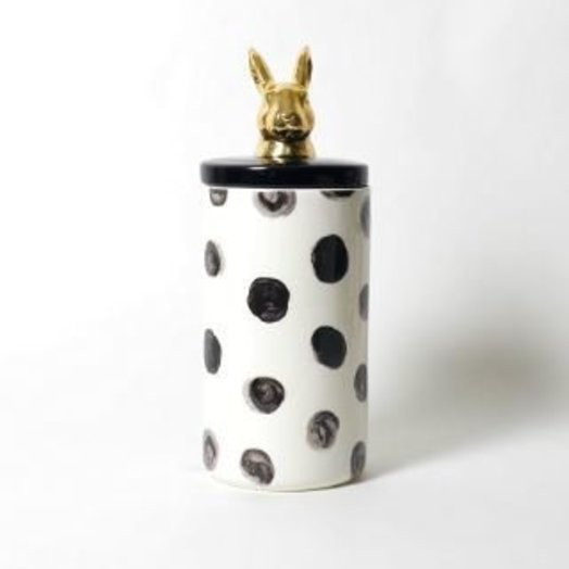 """Imm Living PAINTED PAWS RABBIT CERAMIC CANISTER 5"""" x 5"""" x 12.75"""" Procelain"""