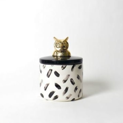"""Imm Living PAINTED PAWS OWL CERAMIC CANISTER 6.3"""" x 6.3"""" x 8.66"""
