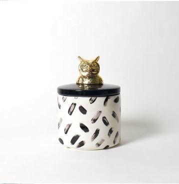 "Imm Living PAINTED PAWS OWL CERAMIC CANISTER 6.3"" x 6.3"" x 8.66"