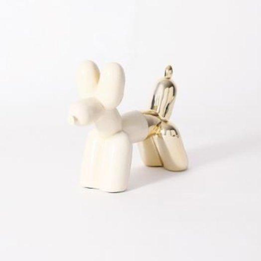"Imm Living BIG TOP CERAMIC BALLOON DOG BOOKEND - CREAM & GOLD 10.5"" x 3.5"" x 8.5"
