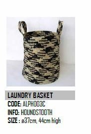 Design Afrika Houndstooth Laundry Basket ALPH003C 14.5 x 17.5 inches