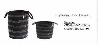 Mia Melange Medium Cylinder Floor Basket 35x 30cm  Licorice Black Cord and White