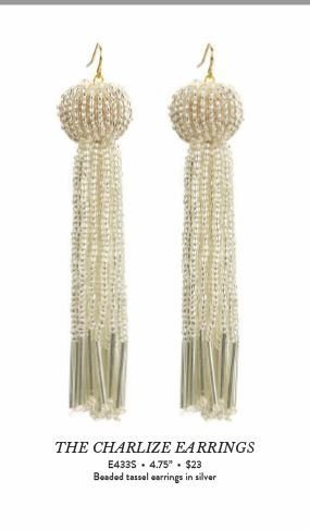 Vanessa Mooney The Charlize Earrings Silver 4.75 inches
