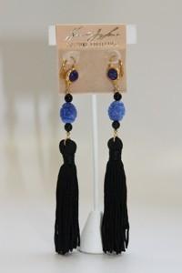 Kenneth Jay Lane Lapis Bead and Black Tassel Earrings