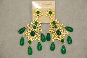 Kenneth Jay Lane Gold And Emerald Drop Filagree Clip Earrings