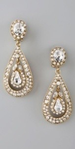 Kenneth Jay Lane Antique Gold and Crystal Top Drop Earrings