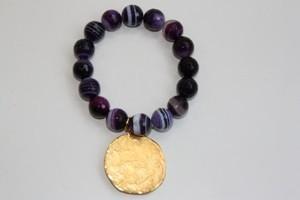Kenneth Jay Lane Purple Agate Satin Coin Gold Bracelet