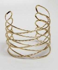 Kenneth Jay Lane Polished Gold Open Criss Cross Cuff
