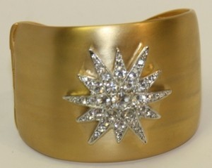 Kenneth Jay Lane Satin Gold Starburst Cuff