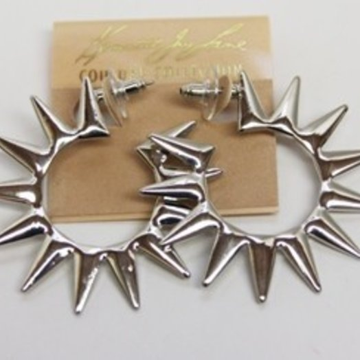 Kenneth Jay Lane Polished Silver Spike Hoop Earring