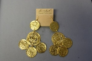 Kenneth Jay Lane Satin Gold Carved Coin Drop Earring
