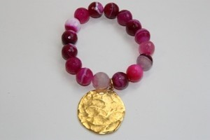 Kenneth Jay Lane Cherry Agate Bead Satin Gold Stretch Bracelet