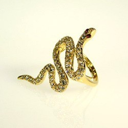 Kenneth Jay Lane Gold and Crystal Snake Ring