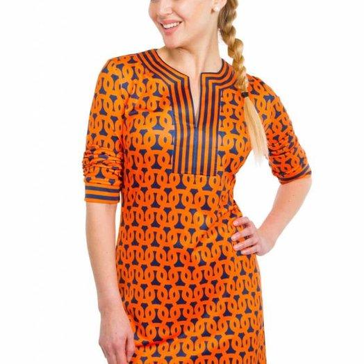 Gretchen Scott Split Neck Jersey Dress - Loop De Lu Orange and Blue