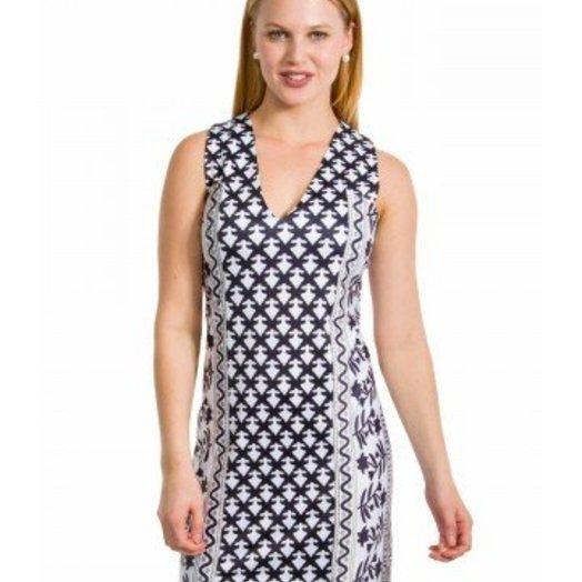 Gretchen Scott Two Timer Jersey Dress - Mixed Message Black and Khaki