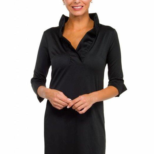 Gretchen Scott Ruffneck Jersey Dress - Solid Black