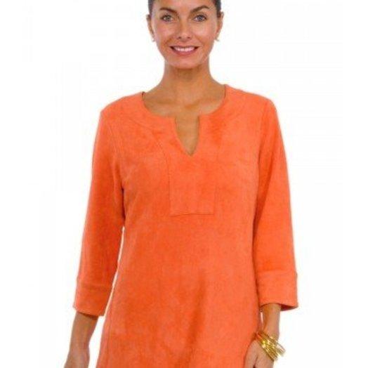 Gretchen Scott Suede Split Neck Tunic Orange