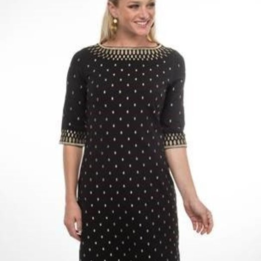 """Gretchen Scott Rocket Girl"""" Jersey Dress with Metallic Embroidery  Black and Gold"""