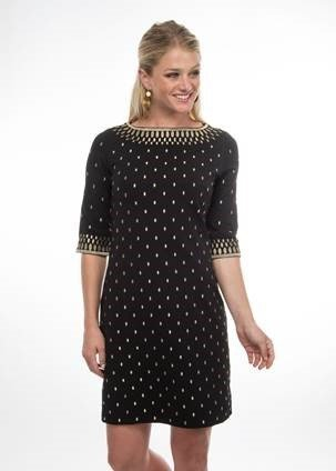 "Gretchen Scott Rocket Girl"" Jersey Dress with Metallic Embroidery  Black and Gold"