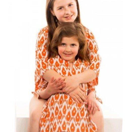 Gretchen Scott Cotton CHILDREN'S Tunic - Idol Ikat Orange