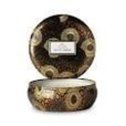 Voluspa Limited Edition 3 Wick Decorative Tin Baltic Amber