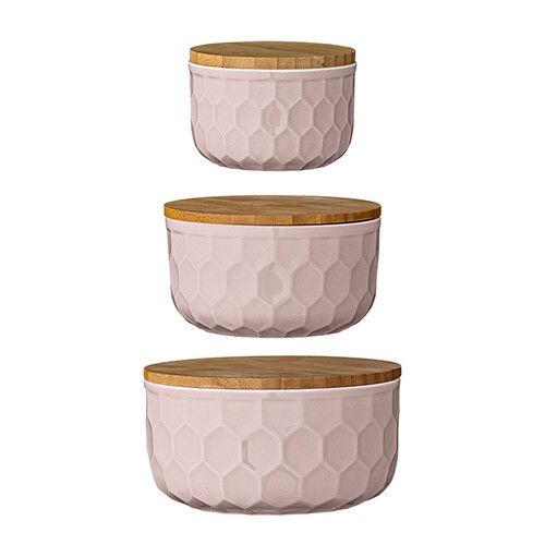 """4"""" 5"""" 6"""" Round Ceramic Bowls with Bamboo Lids, Nude, Set of 3"""