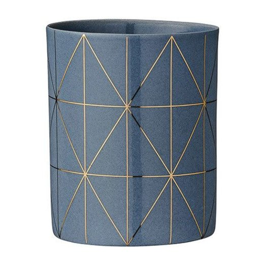 "Bloomingville 3"" High Ceramic Votive Holder Grey and Gold"