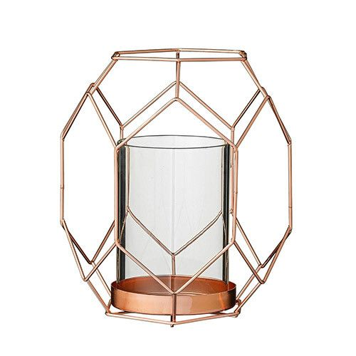 "Bloomingville 6""L x 5 1/4W x 6 3/4 ""H Metal Geometric Votive Holder with Glass Insert Copper"