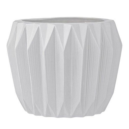 "Bloomingville 7 3/4 "" Round x 6"" High Ceramic Fluted Flower Pot White"