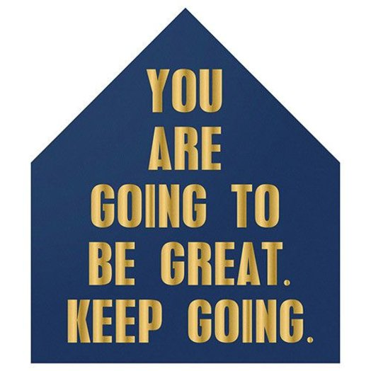 "Bloomingville 15 3/4"" x 18"" H Wood ""You are going to be great"" Navy and Gold"