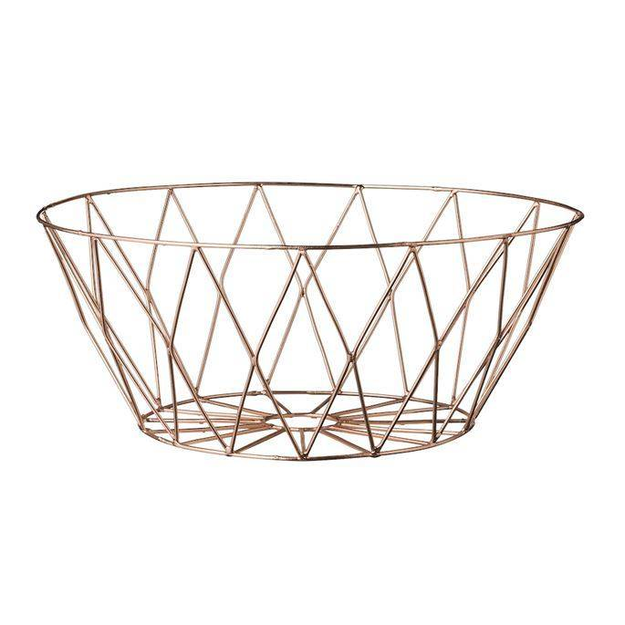 "Bloomingville 9-3/4"" Round x 4"" High Metal basket, Copper Plated FInish"